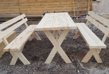Комплект мебели №1 (2 лавка со спинкой и стол)